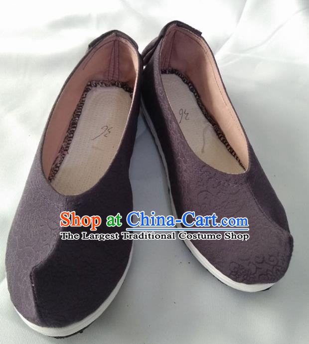 Chinese Kung Fu Shoes Mens Shoes Traditional Hanfu Shoes Brown Cloth Shoes Monk Shoes for Men