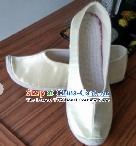 Chinese Traditional White Satin Shoes Opera Shoes Hanfu Shoes Princess Shoes for Women
