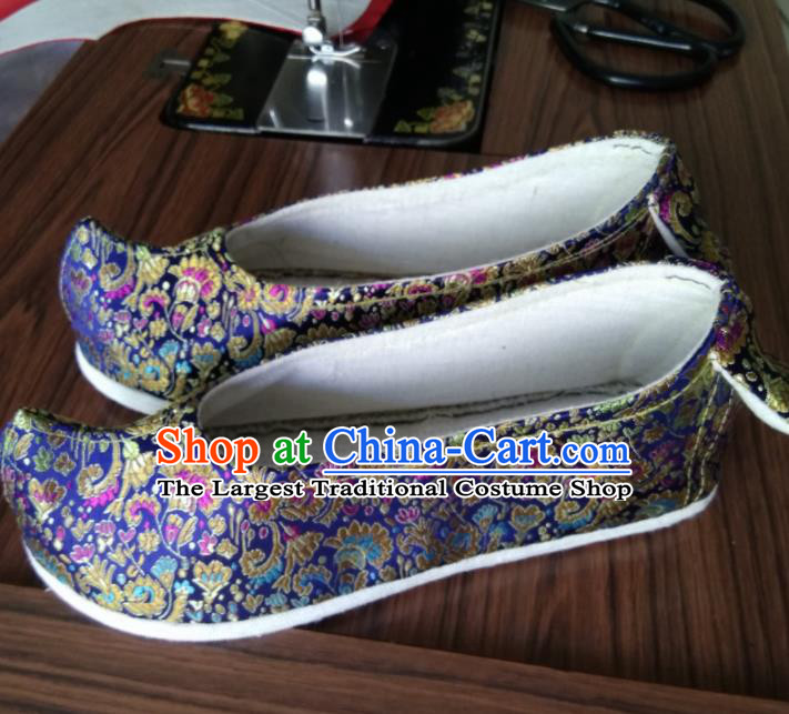 Chinese Traditional Royalblue Brocade Bow Shoes Opera Shoes Hanfu Shoes Ancient Princess Shoes for Women