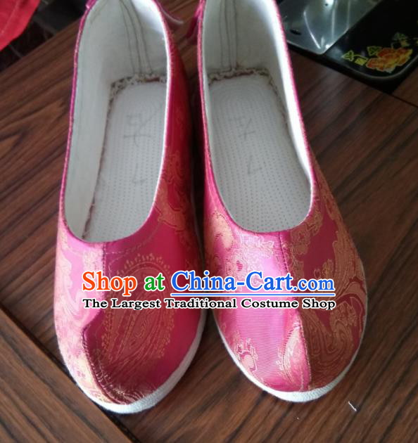 Chinese Traditional Pink Brocade Bow Shoes Opera Shoes Hanfu Shoes Ancient Princess Shoes for Women
