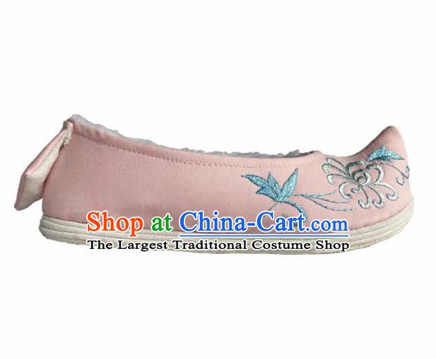 Chinese Traditional Embroidered Pink Bow Shoes Opera Shoes Hanfu Shoes Ancient Princess Shoes for Women