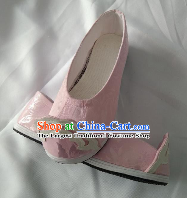 Chinese Traditional Pink Brocade Shoes Opera Shoes Hanfu Shoes Ancient Princess Shoes for Women