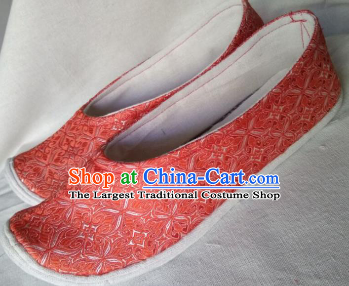 Chinese Traditional Embroidered Orange Brocade Bow Shoes Opera Shoes Hanfu Shoes Ancient Princess Shoes for Women