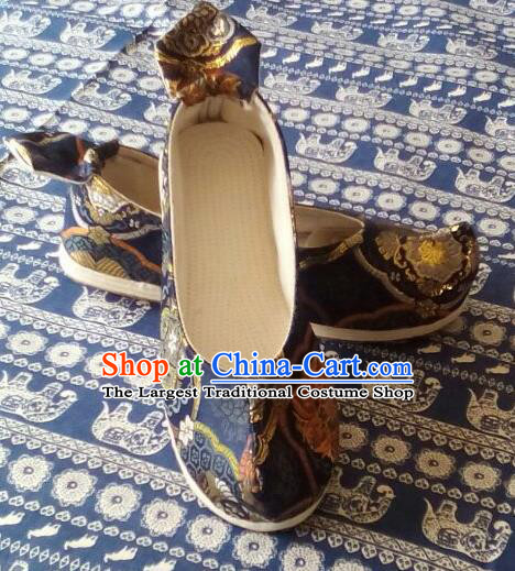 Chinese Traditional Navy Brocade Bow Shoes Opera Shoes Hanfu Shoes Ancient Princess Shoes for Women