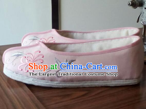 Chinese Traditional Handmade Embroidered Pink Shoes Opera Shoes Hanfu Shoes Ancient Princess Shoes for Women