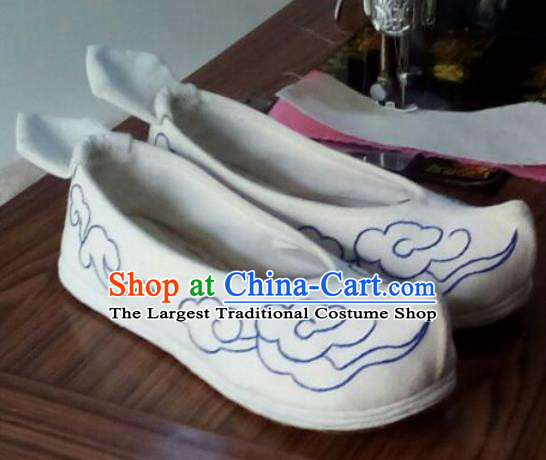 Chinese Traditional Handmade Embroidered White Shoes Opera Shoes Hanfu Shoes Ancient Princess Shoes for Women