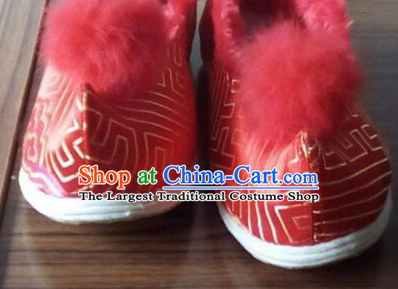 Chinese Traditional Handmade Red Brocade Shoes Opera Shoes Hanfu Shoes Ancient Princess Shoes for Women