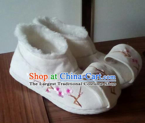 Chinese Traditional Handmade Embroidered Plum White Shoes Opera Shoes Hanfu Shoes Ancient Princess Shoes for Women