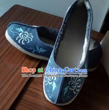 Chinese Traditional Handmade Embroidered Chrysanthemum Navy Shoes Opera Shoes Hanfu Shoes Ancient Princess Shoes for Women