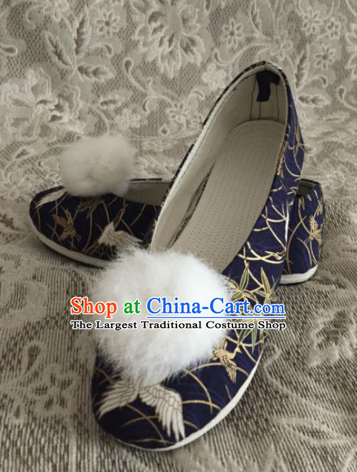 Chinese Traditional Handmade Navy Brocade Shoes Opera Shoes Hanfu Shoes Ancient Princess Shoes for Women