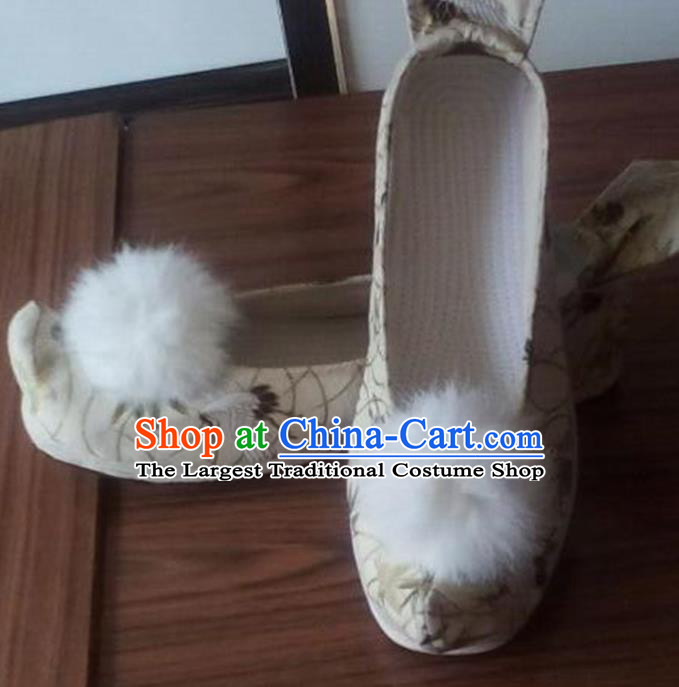 Chinese Traditional Handmade White Brocade Shoes Opera Shoes Hanfu Shoes Ancient Princess Shoes for Women