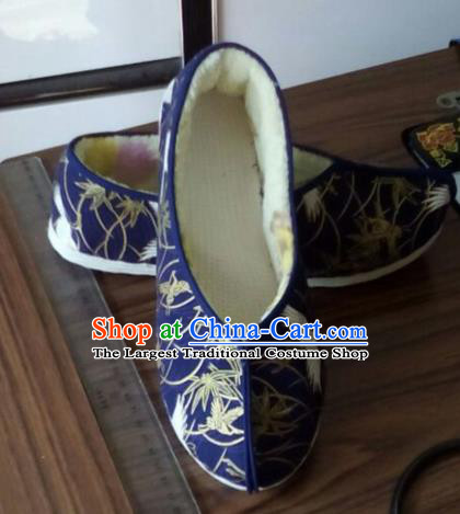 Chinese Traditional Handmade Royalblue Brocade Shoes Opera Shoes Hanfu Shoes Ancient Princess Shoes for Women