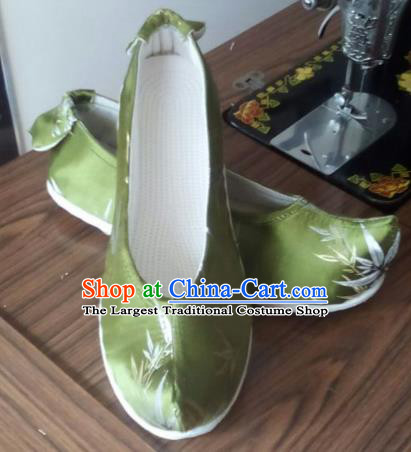 Chinese Traditional Handmade Green Satin Shoes Opera Shoes Hanfu Shoes Ancient Princess Shoes for Women