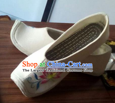 Chinese Traditional Handmade Embroidered Lotus White Shoes Opera Shoes Hanfu Shoes Ancient Princess Shoes for Women
