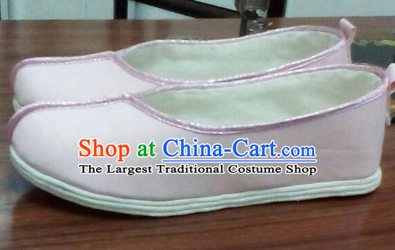 Chinese Traditional Handmade Light Pink Cloth Shoes Opera Shoes Hanfu Shoes Ancient Princess Shoes for Women