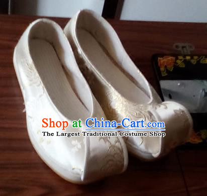 Chinese Kung Fu Shoes Handmade Beige Brocade Shoes Traditional Hanfu Shoes Opera Shoes for Men