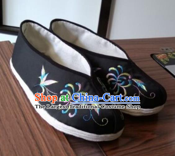 Chinese Traditional Embroidered Black Brocade Shoes Opera Shoes Hanfu Shoes Ancient Princess Shoes for Women