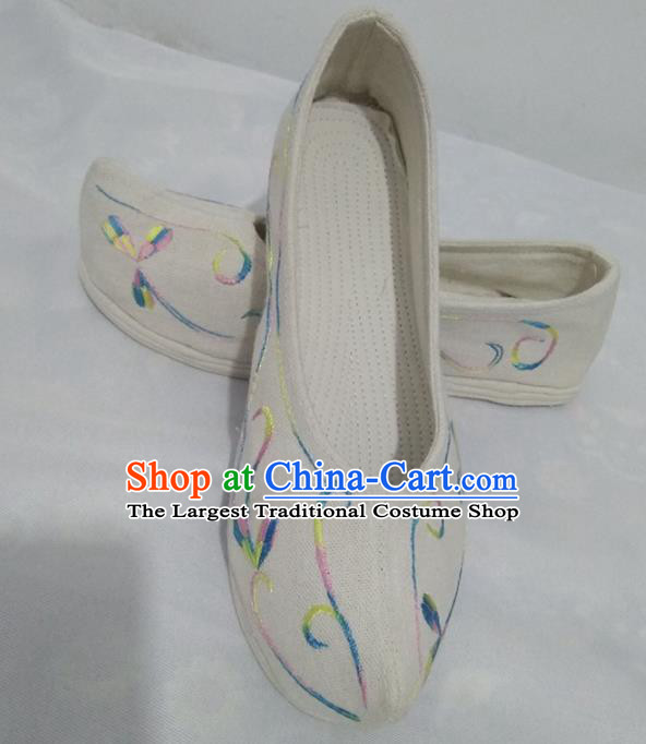Chinese Traditional Handmade Embroidered White Bow Shoes Opera Shoes Hanfu Shoes Ancient Princess Shoes for Women