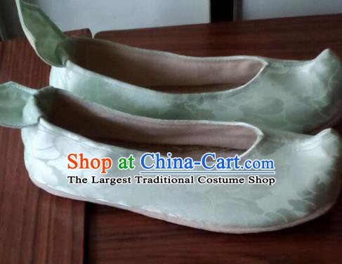 Chinese Traditional Handmade Light Green Brocade Shoes Opera Shoes Hanfu Shoes Ancient Princess Shoes for Women
