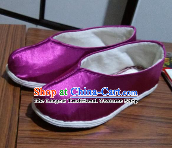 Chinese Traditional Purple Satin Shoes Opera Shoes Hanfu Shoes Ancient Princess Shoes for Women