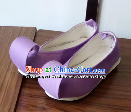 Chinese Traditional Lilac Cloth Shoes Opera Shoes Hanfu Shoes Ancient Princess Shoes for Women