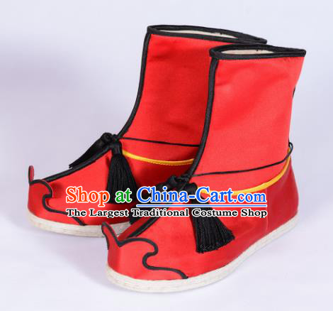 Chinese Ancient Swordsman Shoes Handmade Red Boots Traditional Hanfu Shoes Opera Shoes for Men