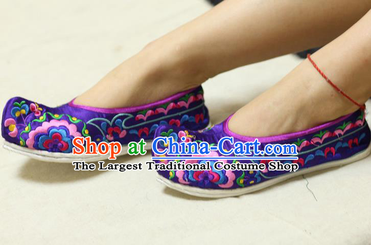 Chinese Traditional Embroidered Purple Brocade Shoes Opera Shoes Hanfu Shoes Ancient Princess Shoes for Women