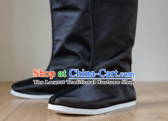 Chinese Ancient Swordsman Shoes Handmade Black Satin Boots Traditional Hanfu Shoes Opera Shoes for Men