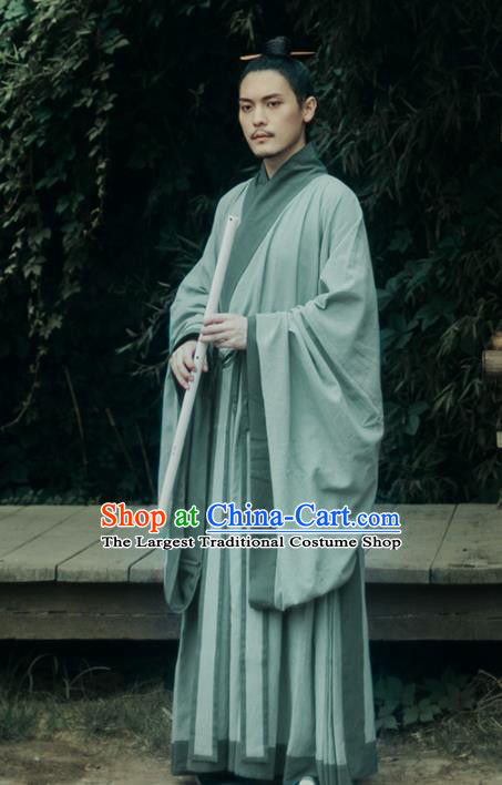 Chinese Ancient Scholar Green Hanfu Clothing Traditional Ming Dynasty Taoist Priest Costumes for Men