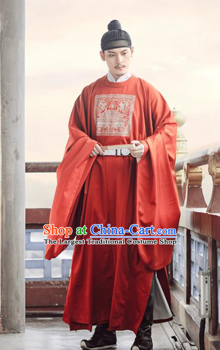 Chinese Ancient Bridegroom Red Robe Traditional Ming Dynasty Royal Minister Costumes for Men