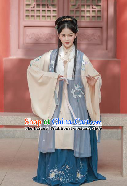 Chinese Ancient Noble Princess Embroidered Dress Traditional Ming Dynasty Taoist Nun Costumes for Women