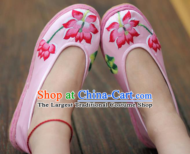 Chinese Handmade Shoes Traditional National Embroidered Lotus Pink Shoes Hanfu Shoes for Women
