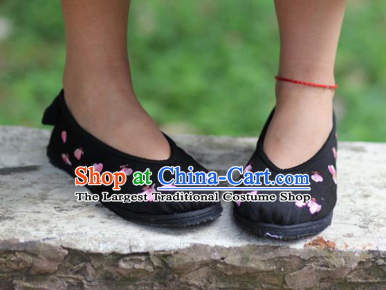 Chinese Embroidered Peach Blossom Black Shoes Handmade Hanfu Shoes Traditional National Shoes for Women