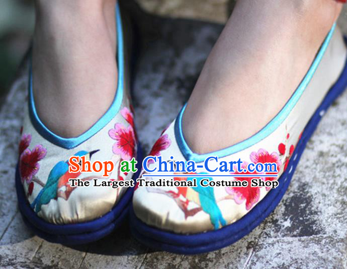 Chinese Embroidered Plum Blossom Satin Shoes Handmade Hanfu Shoes Traditional National Shoes for Women