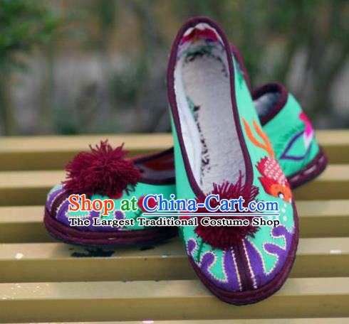 Chinese Handmade Embroidered Green Cloth Shoes Hanfu Shoes Traditional National Shoes for Women