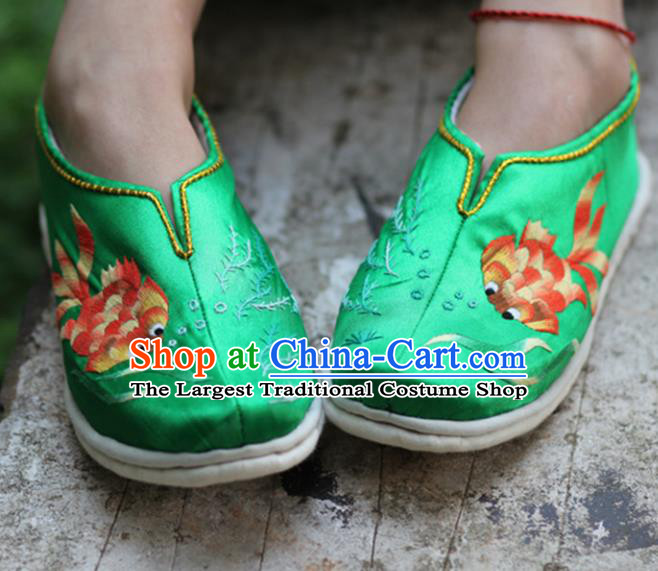 Chinese Handmade Embroidered Goldfish Green Shoes Hanfu Shoes Traditional National Shoes for Women