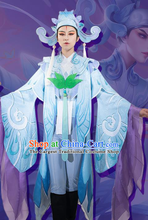 Chinese Cosplay Scholar Blue Hanfu Clothing Traditional Ancient Childe Costume for Men