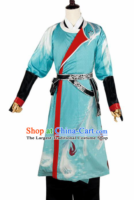 Chinese Cosplay Young Swordsman Blue Hanfu Clothing Traditional Ancient Childe Costume for Men