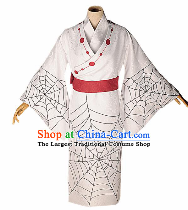 Japanese Cosplay Warrior Knight White Kimono Traditional Ancient Swordsman Costume for Men