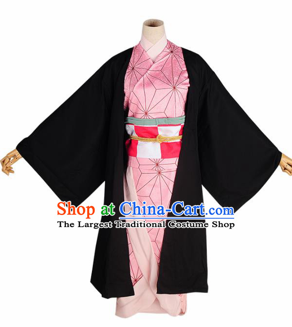Japanese Cosplay Geisha Pink Kimono Dress Traditional Ancient Courtesan Costume for Women