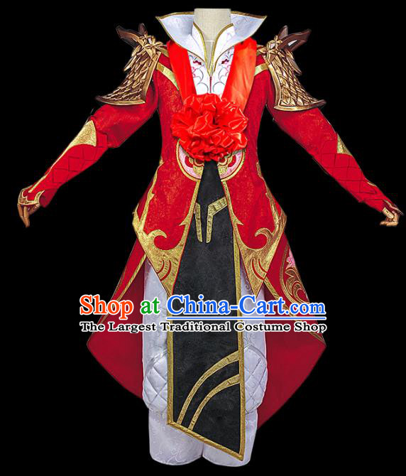 Chinese Cosplay Swordsman Wedding Red Hanfu Clothing Traditional Ancient Knight Costume for Men