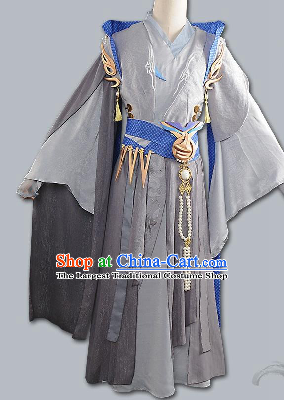 Chinese Cosplay Swordsman Grey Hanfu Clothing Traditional Ancient Knight Costume for Men