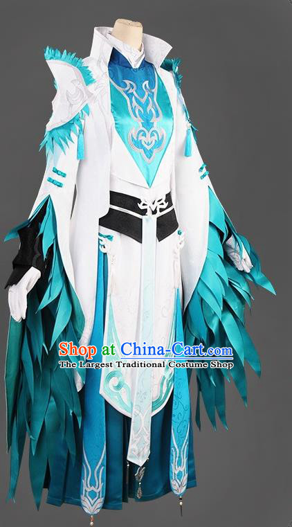Chinese Cosplay Royal Highness Swordsman Blue Hanfu Clothing Traditional Ancient Knight Costume for Men