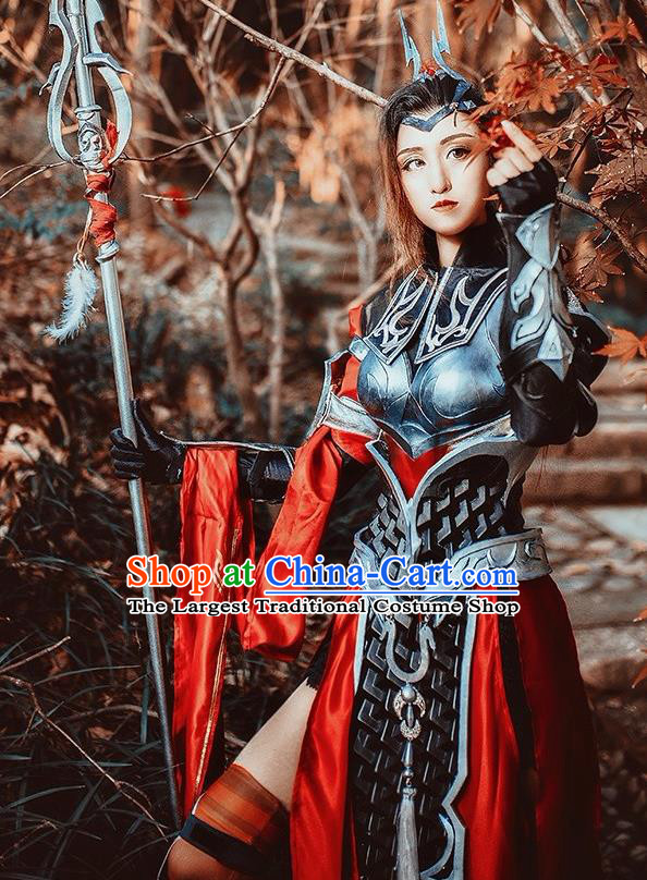 Chinese Cosplay Game General Black Dress Traditional Ancient Female Swordsman Costume for Women