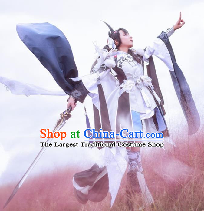 Chinese Cosplay Game Taoist Nun Black Dress Traditional Ancient Princess Female Swordsman Costume for Women