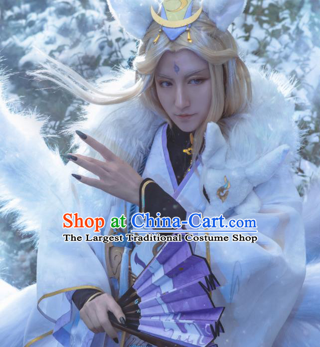 Chinese Cosplay King Swordsman Grey Hanfu Clothing Traditional Ancient Knight Costume for Men