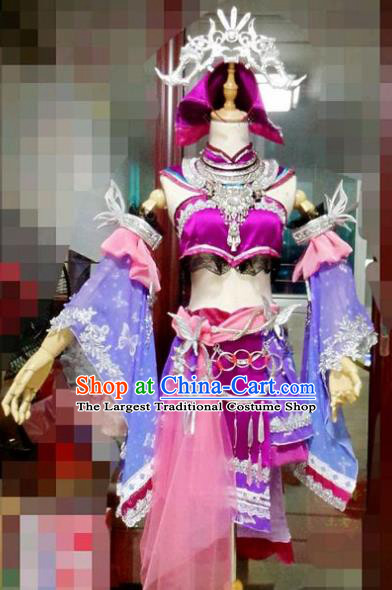 Chinese Cosplay Drama Fairy Purple Dress Traditional Ancient Swordsman Costume for Women