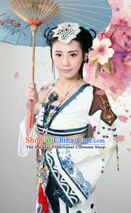 Chinese Cosplay Drama Young Lady White Dress Traditional Ancient Female Swordsman Costume for Women
