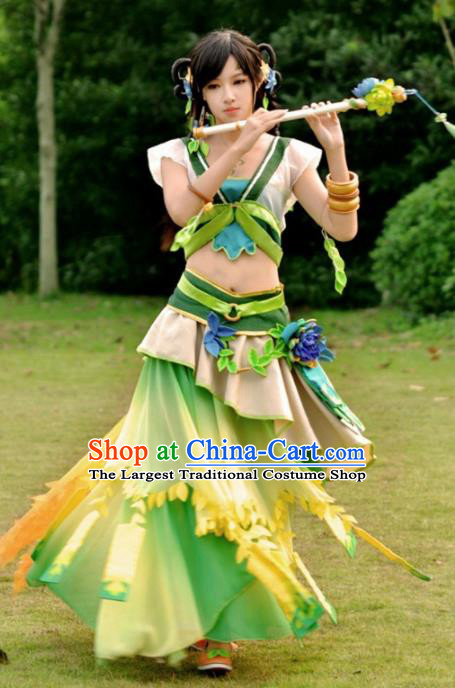 Chinese Cosplay Drama Young Lady Fairy Green Dress Traditional Ancient Female Swordsman Costume for Women