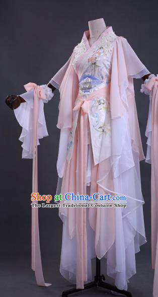 Chinese Cosplay Drama Young Lady Princess Pink Dress Traditional Ancient Female Swordsman Costume for Women
